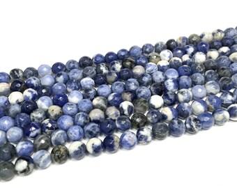 6mm Natural Faceted Sodalite Genuine Gemstones Full Strand (64 Round Beads)