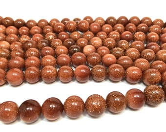 """10mm Natural Goldstone Bead Strand (Full 15"""")"""