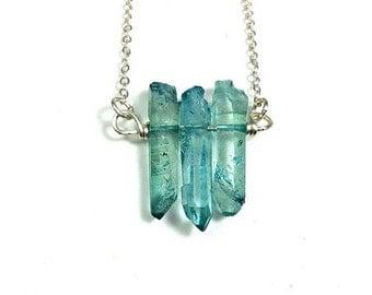 Aqua Blue Quartz Crystal Necklace