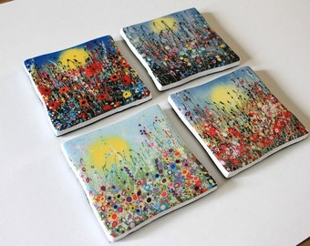Set of 4 Ceramic Coasters. Each with an art print from my original painting. Floral Coasters, Home Decor.