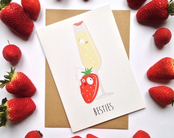 Friendship, thank you, best friends, BFF. Celebration, party, event. Champagne and strawberry, besties greeting card