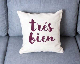 Pillow covers pillow cases decorative pillows pillow covers pillow cases tres bien quote pillow gift for her gift for women home decor gift