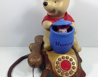 Winnie The Pooh & Piglet Animated Telephone. Brooktel 1996. Pooh + Piglet characters animate and talk when phone rings. Working