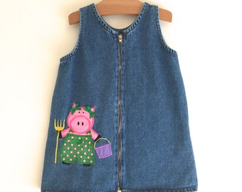 Vintage 90's Denim Jumper Dress with Farmer Pig Appliqué, Vintage Girl's Dress, Children's Vintage Clothing, Size 5