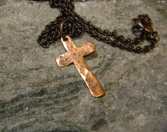 Hammered copper cross mens unisex copper cross wire rustic copper cross necklace hammered copper cross mens cross necklace boho necklace aloadofball Choice Image