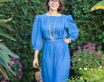 "1970's Secretary/Blue Pinstriped Dress/Charlee Allison Dress/Size 13/14/14""Waist/Runs Small/44""Long/Shoulder Pads/*FREE GIFT WRAP*"
