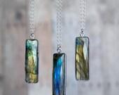 Labradorite Necklace, Vertical Bar Necklace, Sterling Silver Labradorite Necklace, Labradorite Pendant Necklace, Silver Necklace