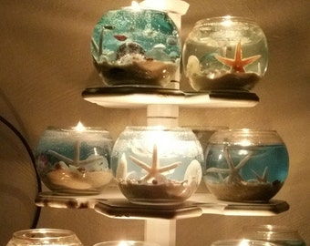 "New ""Seashore"" Scent 16 OZ  Ocean Gel Candles"