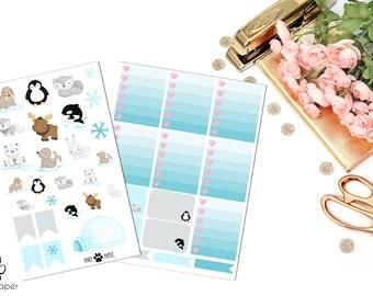 VERTICAL Arctic Animals Sticker Set for Erin Condren Planners (Walrus, Penguin, Wolf, Bear, Moose, Whale, Seal, Rabbit)