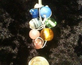 Wire Wrapped Glass Beads Pendant