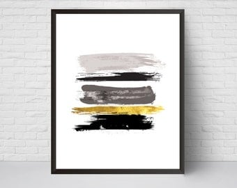 Abstract Wall Art Print, Paint Strokes Art Printable, Black Grey Gold Brush Strokes, Modern Art Home Room Decor, Minimalist Poster