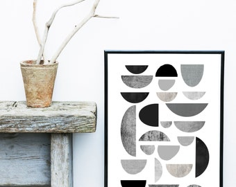 Grey Wall Print, Scandi Print,  Abstract Poster, Instant Download, Printable Art, Geometric Art, Geometric Wall Art, Abstract Art Print