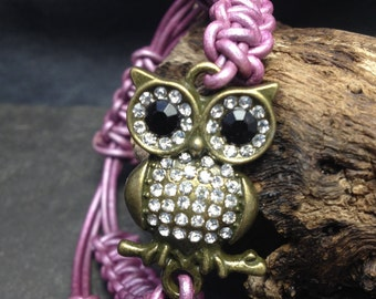 Owl Bracelet, Owl macrame leather bracelet, Purple leather owl bracelet, Brass Owl, Boho bracelet, Macrame bracelet, Owl lover bracelet