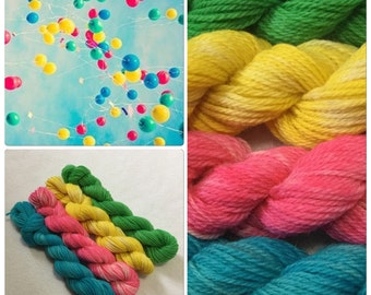 Hand Dyed Yarn, Hand Painted Yarn, DK, Mini Skeins, Superwash, Wool, Alpaca, Color: Up, Up, and Away