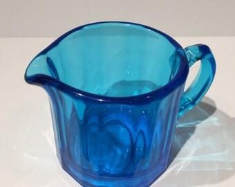 Vintage Blue Paneled Glass Creamer, Vintage Blue Glass Creamer, Elegant Retro Paneled Pattern in Blue Glass, Vintage Blue Glass Creamer