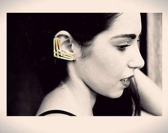 "Gold ear-cuff, geometric ear-cuff, statement ear-cuff, boho ear-cuff, "" Vinculo"" ear-cuff"