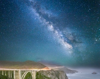 Bixby Bridge by Starlight - bridge,milky way,big sur,midnight,starlight,california,ocean,blues,stunning,home office decor,night photography