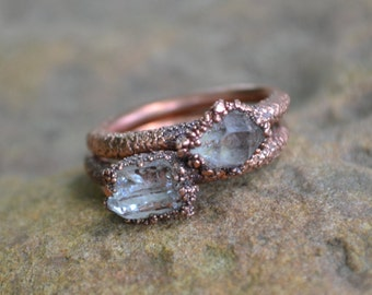 herkimer diamond ring copper electroformed ring raw crystal ring copper rings natural