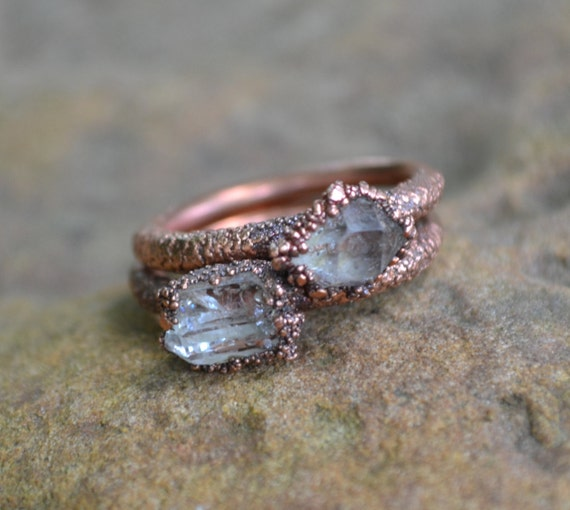 Herkimer Diamond Ring Copper Electroformed Ring Raw Crystal
