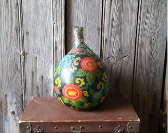 Stunning French Vintage Hand Blown Hand Painted Glass Bottle or Demi John  -  Flower Design Large Vintage Hand Painted Bottle