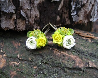 Dangle earrings flower jewelry Yellow flower earring Colorful jewelry with flower Earring for bridesmaids gift Floral jewelry Bright jewelry