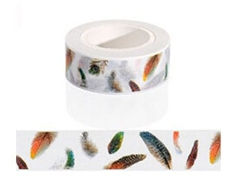 Feather Washi Tape / Cute Washi Tape / Kawaii Washi Tape / Cute Masking Tape / Falling Feathers Washi Tape / 10M Washi Tape / Masking Tape