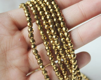 4mm Gold Plated Faceted Hematite Gemstone Shiny Gold Gemstone Beads Jewelry Supply