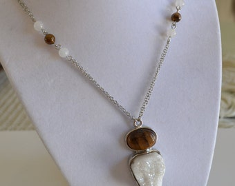 White Druzy & Tiger Eye Pendant Necklace with Silver Tone Double Chain Beads