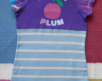 SALE!!!***Repurposed knit dress, sugar plum graphic, girl's size 2/3, recycled knits