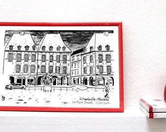 Ardennes, Rimbaud, Place Ducale, Illustration, Charleville-Mézières, city night, grey, cloudy, paint,