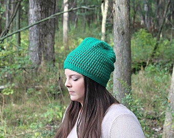Green Slouchy Hat, Green Beanie, Green Slouchy Beanie, Green Hat, Green Crochet Hat, Green Winter Hat, Green Women's Hat, THE RAINIER