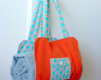 Orange Picnic Tote with Checkerboard and Wood Game Pieces