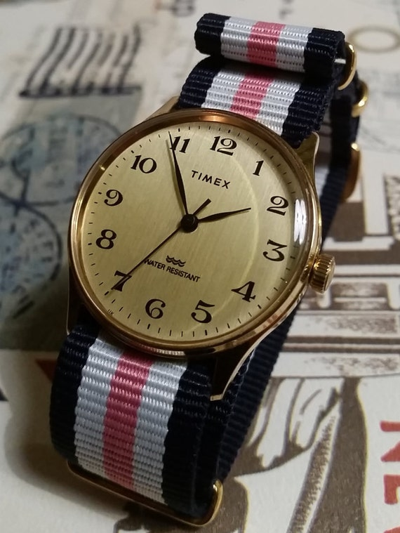 Vintage Timex Womens Mechanical Watch - Pink, White & Blue Nato Gold Strap. Ladies Vintage Watch. Womens Vintage Gold Nato Strap Watch.