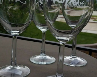 Etched Wine Glasses, Hope, Faith, Love, Joy Etched Glasses, Custom Wine Glasses, Etched Wine Glasses, Individualized Wine Glasses, Wine Gift