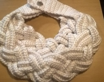 White Braided Crocheted Scarf