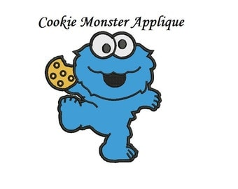 Cookie Monster Applique design - 3,4,5 inch for immidiate download