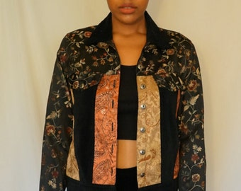 brocade and velvet patchwork denim jacket size m