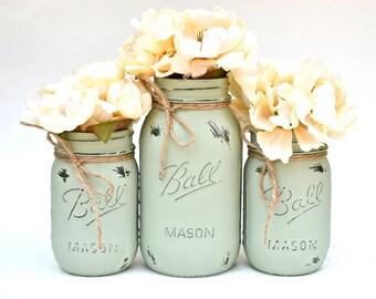 Mason Jar Decor, Mason Jars Bulk, Painted Mason Jars, Painted Jars, Spring Centerpiece, Neutral Decor, Wedding Centerpiece, Woodland Decor