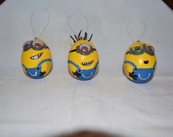 3 Minion egg ornaments