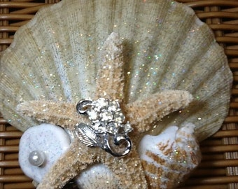 Shimmering Golden Seashell and Starfish Beach Ocean Seaside Wedding Decor