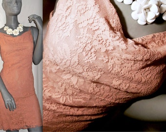 Peach/Pink Spaghetti Strap Cowl Neck Above Knee Length Floral Lace Sun Dress M