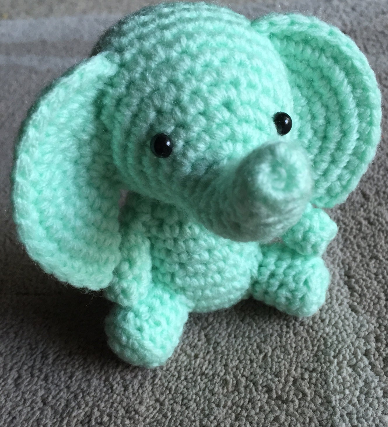 Amigurumi Triangle Ears : Mint Green Elephant Amigurumi Elephant Crochet Elephant