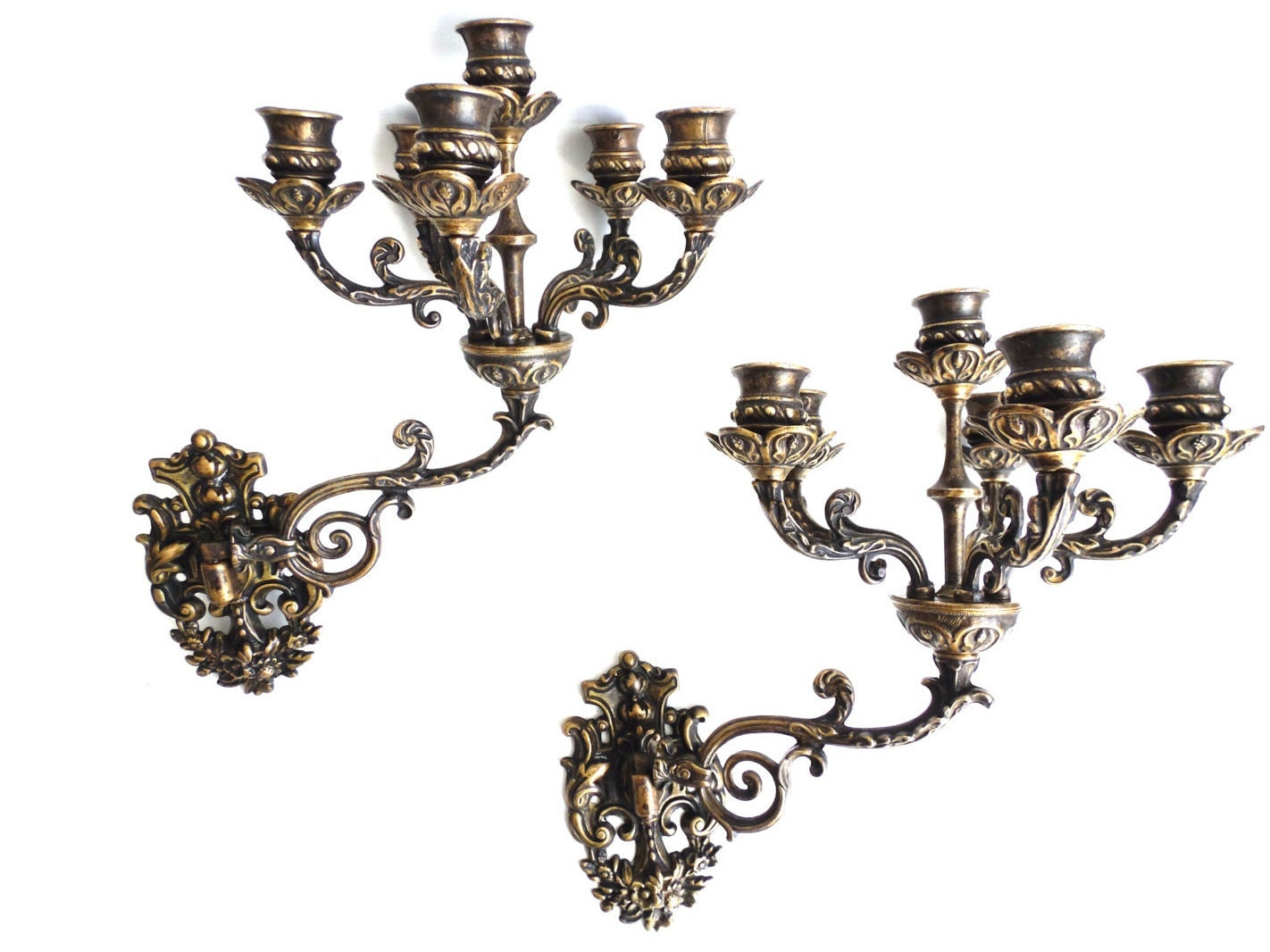 Solid Brass Wall Sconces : Ornate wall Sconces Pair Antique Solid Brass Victorian Wall