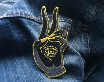 Prana Mudra embroidered Patch -Life Club- mudra patch, lapel pin, yoga meditation, iron on patch, buddha, mudra, buddhism