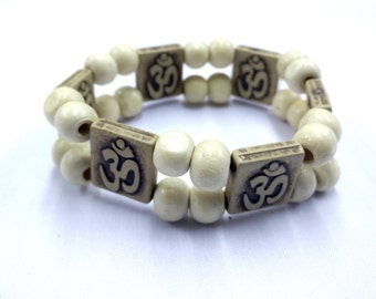 OM bracelet with White traditional bead work