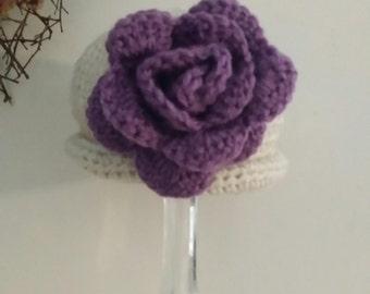 Jenny - Lil Beige Hat Purple Flower