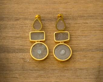 Big Agate Dangle Drop Earrings, Large Statement Earrings, Elegant White Stone Earrings, Chic Three Tier Earrings, Statement Bridal Earrings