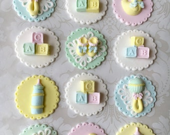 baby shower fondant cupcake toppers edible baby shower cupcake toppers vintage baby shower fondant