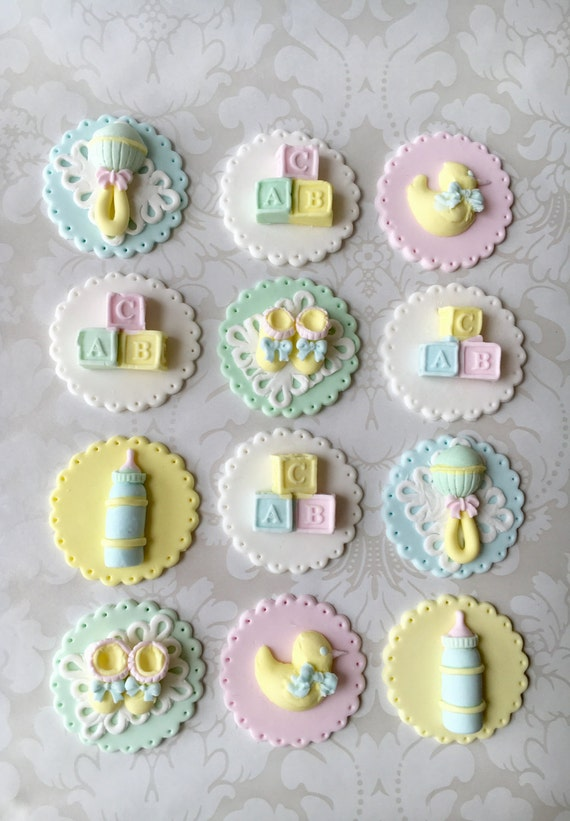 baby shower fondant cupcake toppers. edible baby shower, Baby shower invitation