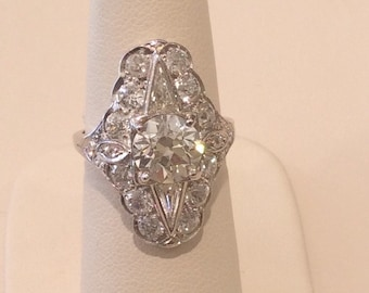 Art Deco Platinum Diamond Shield Ring